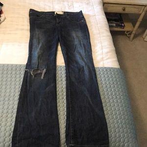 Distressed paper, denim, & cloth jeans size 30